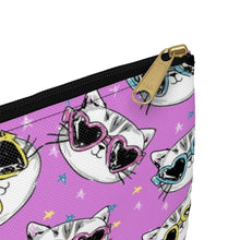 Load image into Gallery viewer, Gifts Ideas for Cat Lovers, Cat Cosmetics Bag Decorated with Cats Wearing Sunglasses