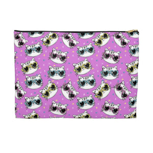 Cat Themed Gifts for Women, Cute Cat Makeup Bag Printed with Cats Wearing Sunglasses