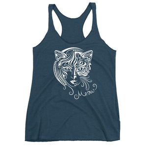 Featuring a face that is half cat half woman, this unique Cat Woman tank top shows your true self.