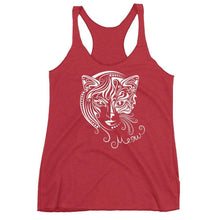 Load image into Gallery viewer, Update your collection of cat lady clothes with this beautiful cat woman tank top featuring a face of half-cat half-woman.