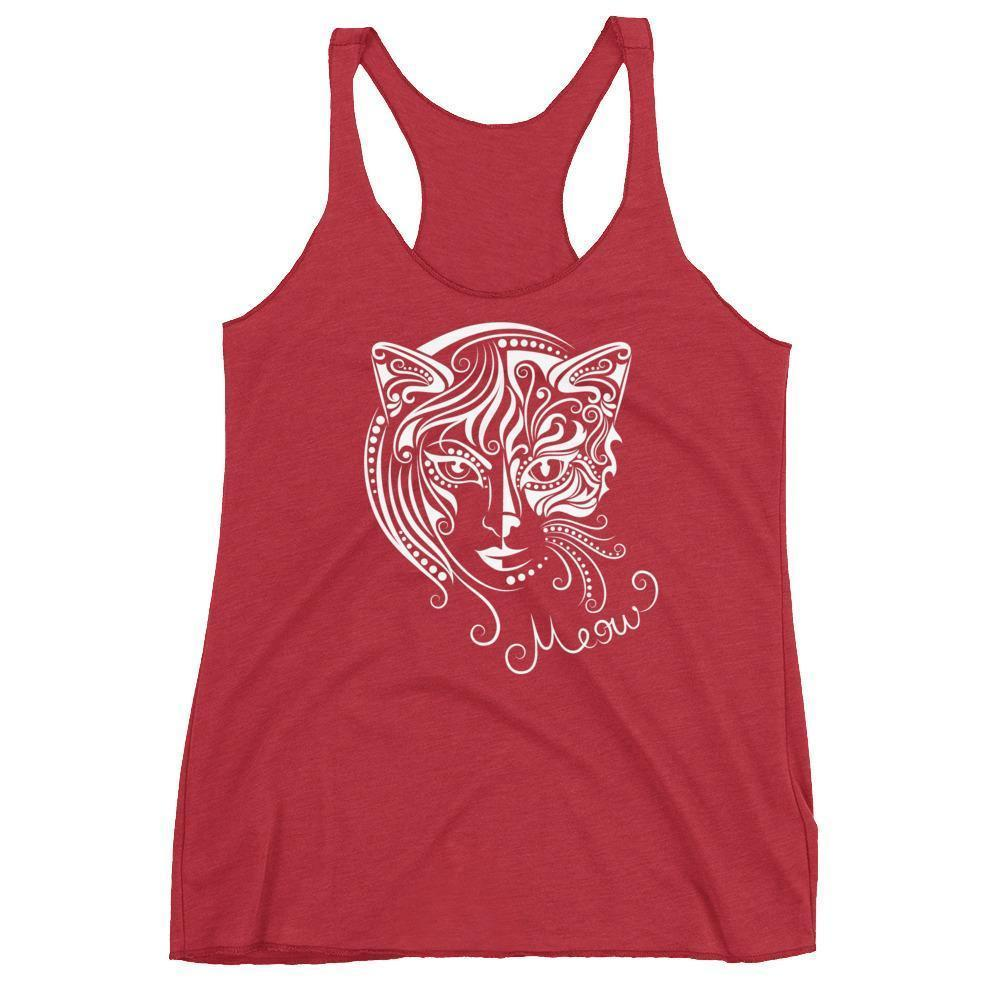 Update your collection of cat lady clothes with this beautiful cat woman tank top featuring a face of half-cat half-woman.