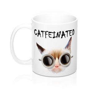 Funny gift for cat lover, Catfeinated coffee mug decorated with a grumpy cat printed on a glossy white background.