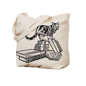 Cats And Books Canvas Tote For Cat Lovers