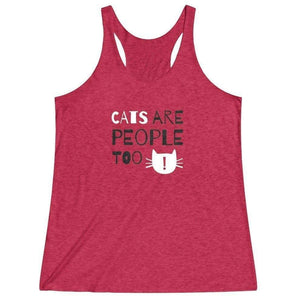 Crazy Cat Clothes, Clothes for Cat Lovers, Funny Cat Themed Tank Top with the Text Cats Are People Too Printed Across the Front