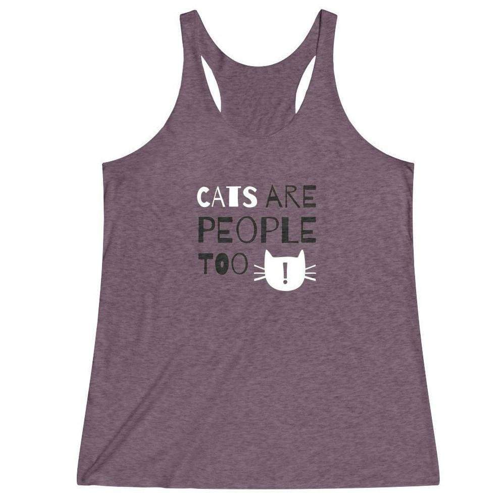 Crazy Cat Shirts, Cat Lady Clothing, Funny Cat Themed Tank Top with the Print Cats Are People Too Across the Front