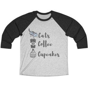 Cat Lover Shirt for Women With the Phrase Cats Coffee and Cupcakes Printed On the Front