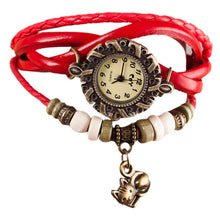 Load image into Gallery viewer, This cute cat watch features red leather straps braided for a boho vibe you'll love.