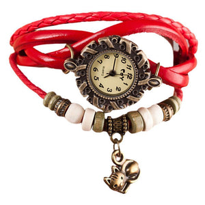 This cute cat watch features red leather straps braided for a boho vibe you'll love.