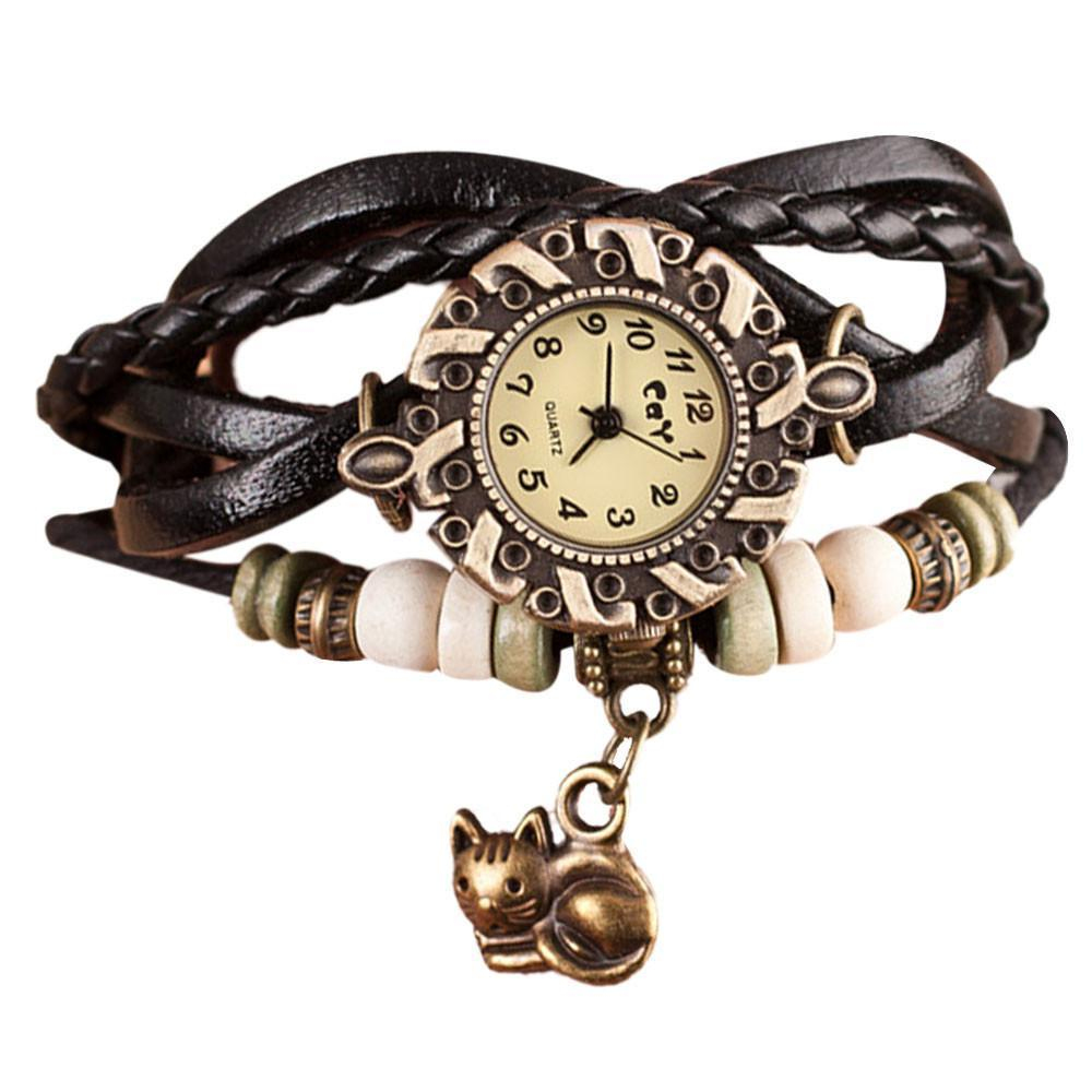 Cute cat watch featuring braided leather straps, beads, and a cat pendant.