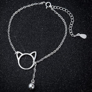 Cat Jewelry, Cat Bracelet Featuring a Cat Face Charm