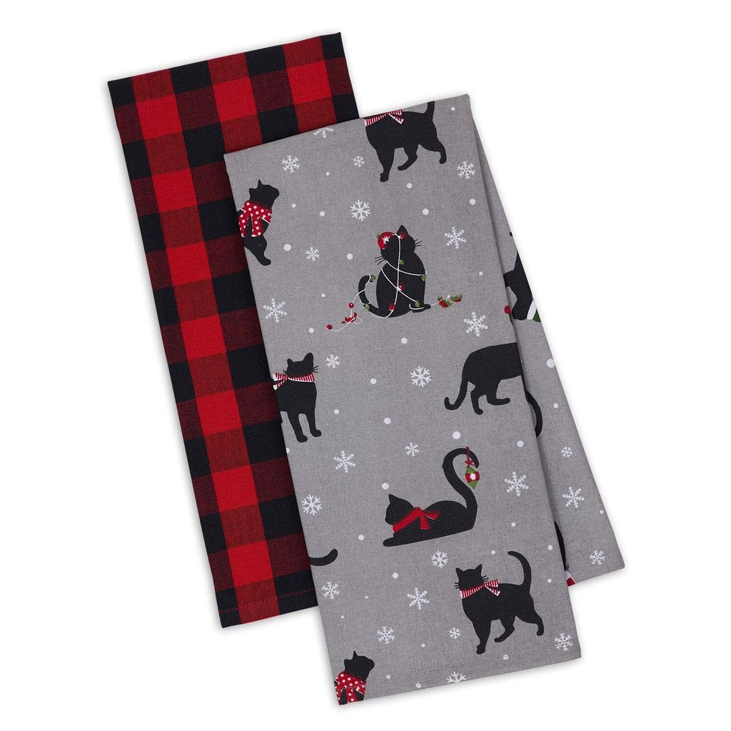 Christmas Cat Kitchen Towels Featuring A Black cat Print