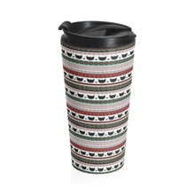 Load image into Gallery viewer, Unique Cat Gifts for Cat Lovers, Christmas Cat Travel Mug with Black Cats and a Christmas Themed Pattern