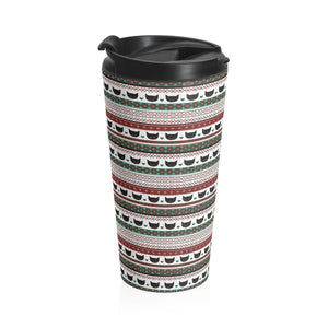 Unique Cat Gifts for Cat Lovers, Christmas Cat Travel Mug with Black Cats and a Christmas Themed Pattern