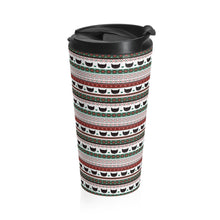 Load image into Gallery viewer, Unique Christmas Gifts for Cat People, Funny Cat Travel Mug with a Festive Pattern