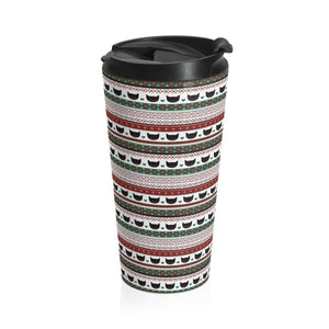 Unique Christmas Gifts for Cat People, Funny Cat Travel Mug with a Festive Pattern