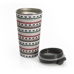 Cat Travel Mug Made from Stainless Steel and Decorated with a Christmas Pattern and Black Cat Print