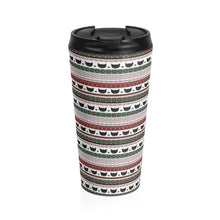 Load image into Gallery viewer, Xmas Gifts for Cat Lovers, Funny Christmas Cat Travel Mug Featuring Black Cats and Festive Red Green and White Pattern