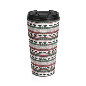 Xmas Gifts for Cat Lovers, Funny Christmas Cat Travel Mug Featuring Black Cats and Festive Red Green and White Pattern