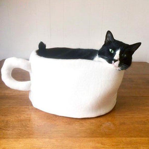 Cute Cat Beds, Handmade Coffee Mug Cat Bed with a Removable and Machine Washable Pillow Insert