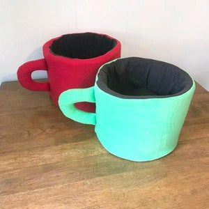 Gifts for Cats, Cute Cat Bed Handmade in the Shape of a Coffee Mug