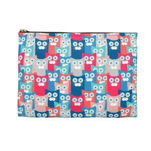 "Cat cosmetic bag featuring colorful cats printed on a 9"" by 7"" makeup bag"