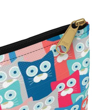 Load image into Gallery viewer, This kitten makeup bag is equipped with a black zipper for extra convenience.
