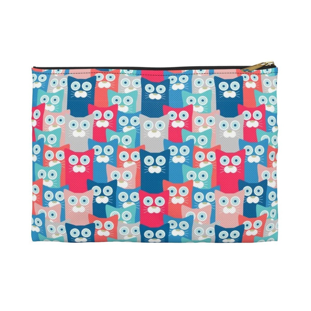 Cat makeup bag decorated with a colorful cat print