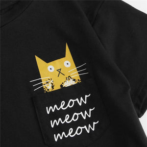 "Cat pajama shirt decorated with a yellow tabby cat and the print ""Meow"""