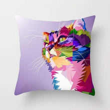 Load image into Gallery viewer, Cat Home Accessories, Decorative Cat Pillows, Cat Pillow Featuring a Colorful Cat Face On a Light Purple Background