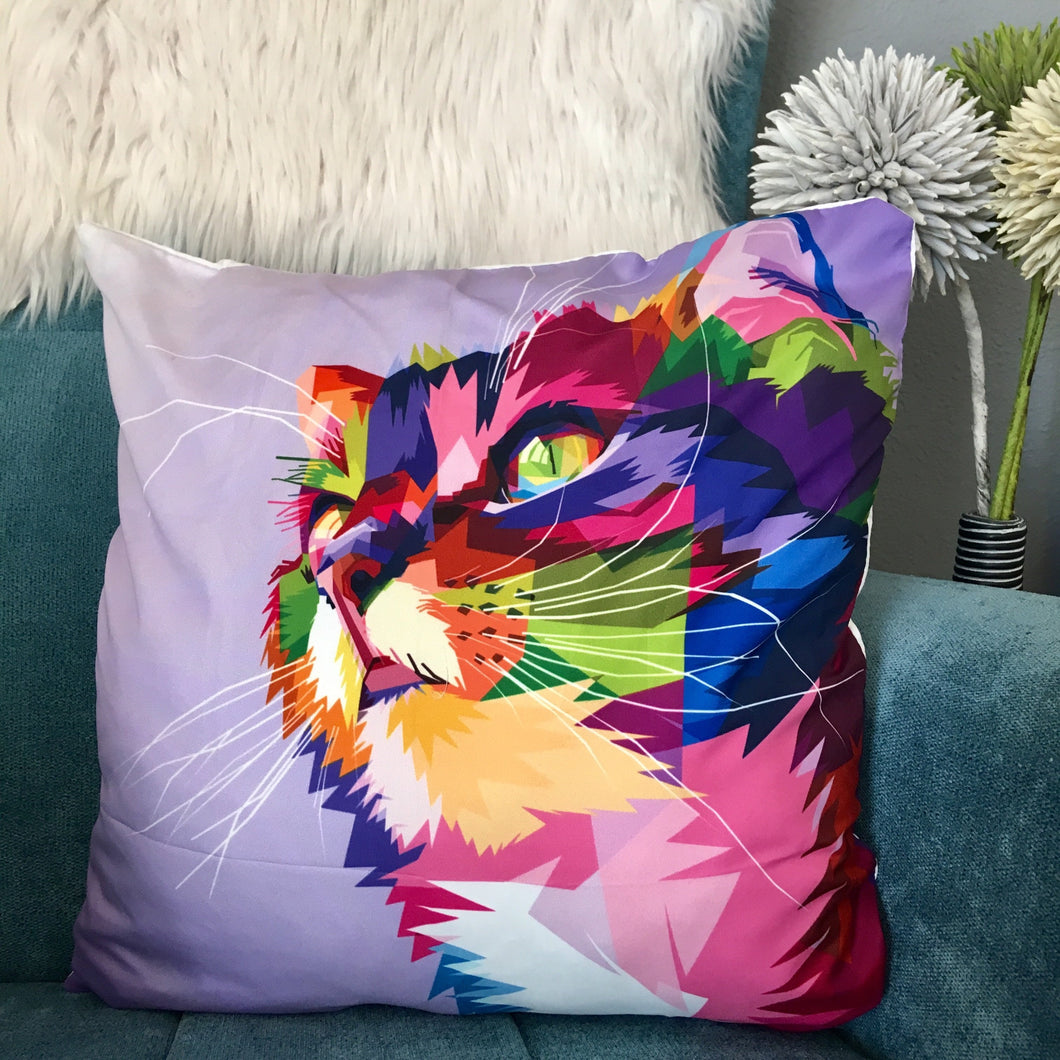 Cat Themed Accessories, Colorful Cat Face Pillow Case