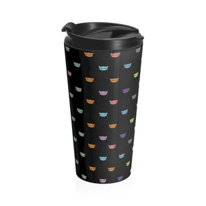 Cat Coffee Travel Mugs, Colorful Cat travel mug decorated with cats printed in various colors on a black stainless steel mug.
