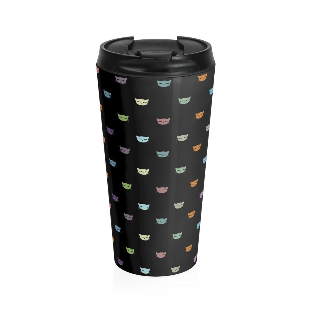 Cat travel mug featuring colorful cat faces printed on a black stainless steel mug - perfect for cat lovers who also love coffee.