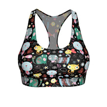 Load image into Gallery viewer, Sports bras with cats featuring unique colorful cats printed on a black background.