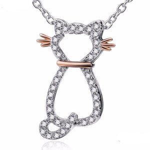 Cat Jewelry for Cat Lovers, Beautiful Copper Whiskers Cat Necklace Made from Sterling Silver and Encrusted with White Zirconia