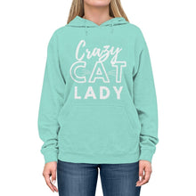Load image into Gallery viewer, Cat Themed Apparel, Crazy Cat Lady Hooded Sweatshirt In Mint Green