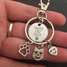 Load image into Gallery viewer, Cat Key Chain with Three Cat Charms for Crazy Cat Ladies
