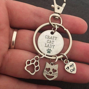 Cat Key Chain with Three Cat Charms for Crazy Cat Ladies