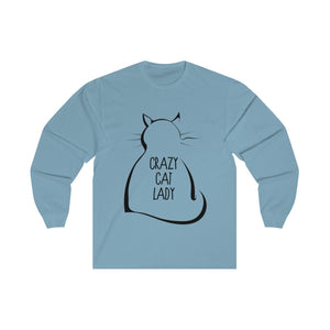 "Crazy Cat Lady Gifts, Crazy Cat Lady Shirt Featuring a Fluffy Black Cat and the Text ""Crazy Cat Lady"" Printed Across the Front"