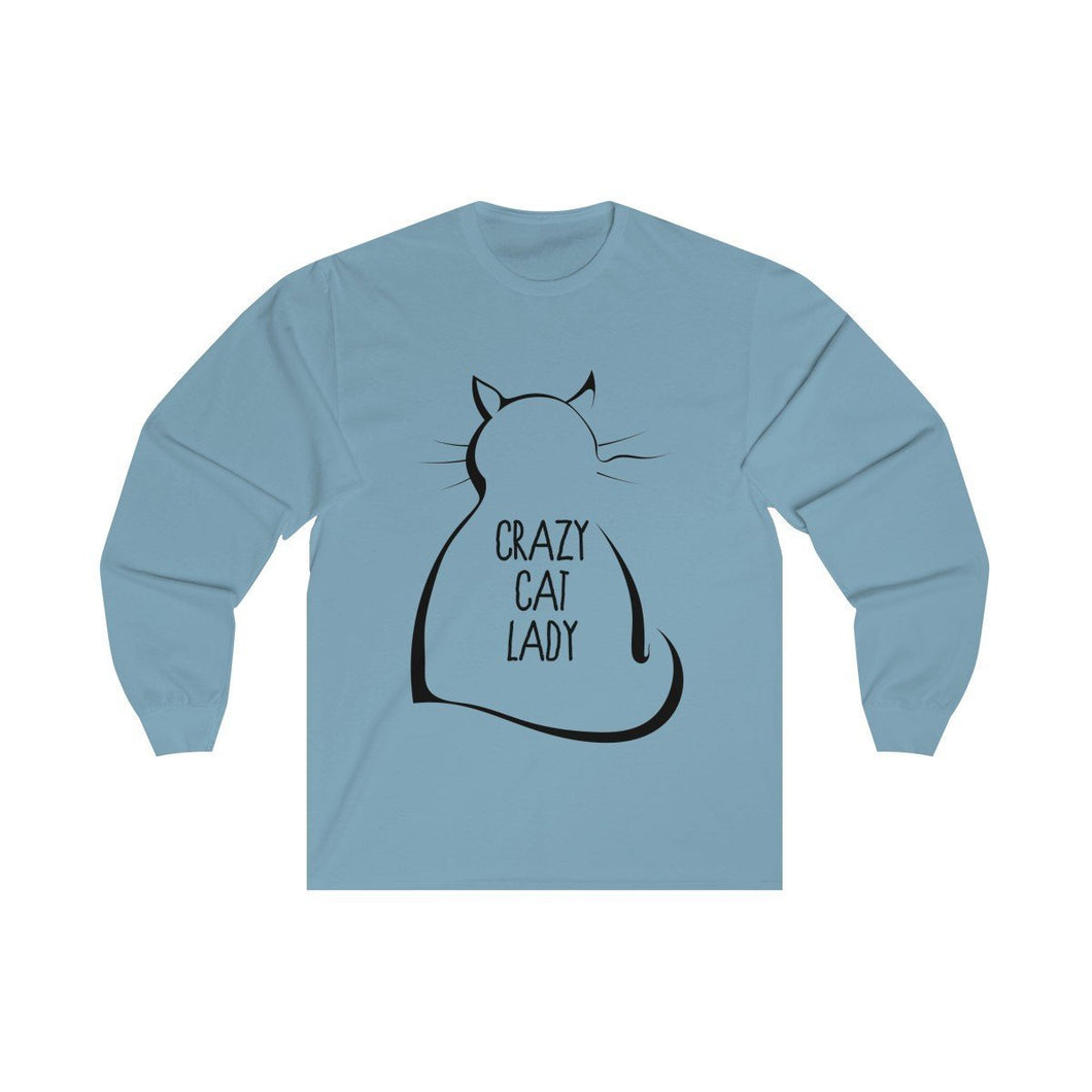 Crazy Cat Lady Gifts, Crazy Cat Lady Shirt Featuring a Fluffy Black Cat and the Text