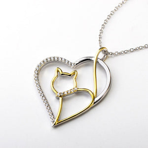 Cat Jewelry, Cat Necklace Made from Sterling Silver Featuring a Cat Wearing a Crystal Collar Inside a Heart Shaped Pendant