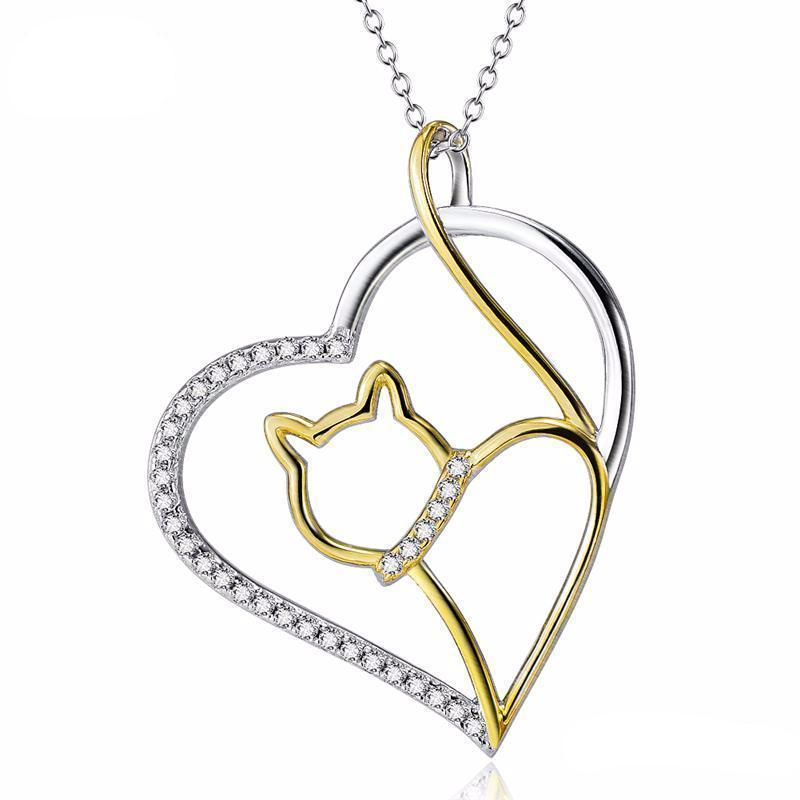 Cat Gold Jewelry, Cat Pendant Featuring a Golden Cat Inside a Silver Heart Encrusted with White Crystals