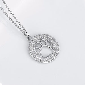 Cat Paw Necklace Made from Sterling Silver and Encrusted with White Cubic Zirconia