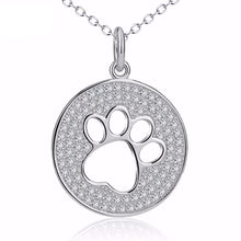 Load image into Gallery viewer, Great Gifts for Cat Lovers, Sterling Silver Paw Print Necklace Encrusted with Shiny Crystals