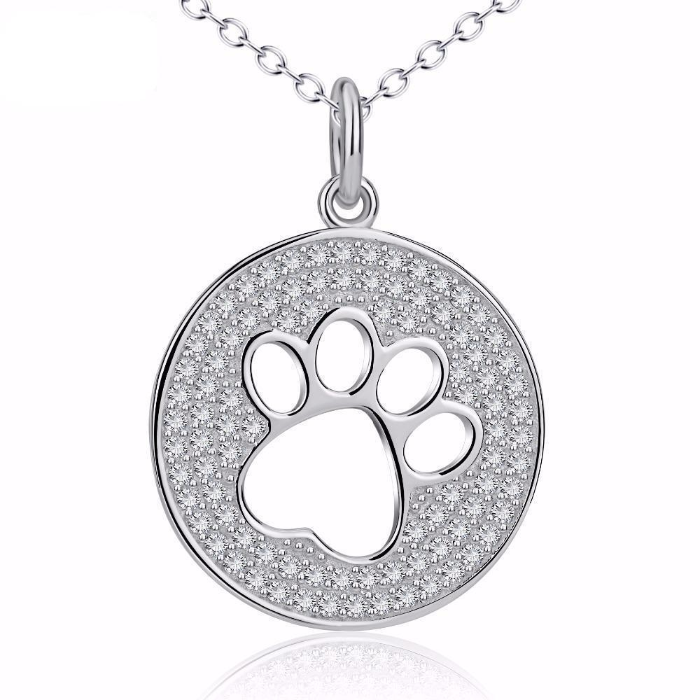 Great Gifts for Cat Lovers, Sterling Silver Paw Print Necklace Encrusted with Shiny Crystals