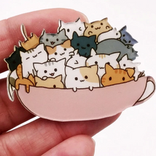 Load image into Gallery viewer, Cute Cat Brooch Pin for Women Featuring Cats In a Coffee Cup