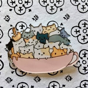 Cute Cat Things for Cat Lovers, Cat Brooch Featuring Cats In a Coffee Cup
