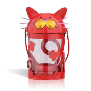 Cat Patio Decor, Cat Candle Holder In a Bright Red Color featuring Cute Cat Face and Whiskers