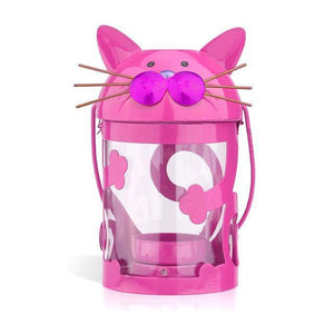 Unique Gifts for Cat Lovers, Funny Cat Candle Holder Made of Pink Painted Iron