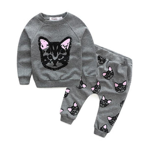 Cat Clothes for Girls, Curious Kitten Top and Bottom Set