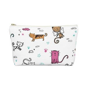 Cute Gifts for Cat Ladies, Cat Cosmetics Bag Featuring Cute Cats Printed On a White Background